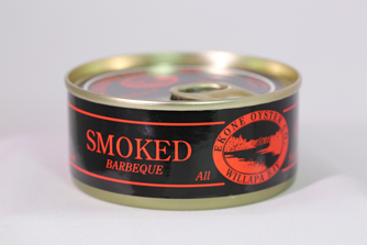 Canned smoked BBQ oysters