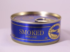 Canned smoked original oysters