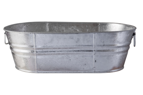 Galvanized Tub with clipping path on a white background